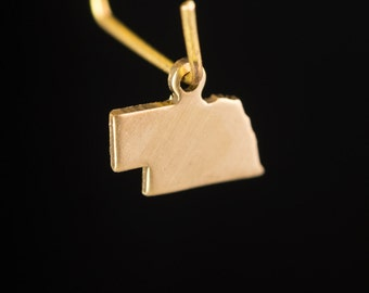 Raw Brass Tiny Nebraska Blank State Charm Drops 13x9mm (6) chr228TT