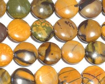 "Dakota Stones Purple Artistic Stone 12mm Coin Beads Gemstones. 8"" Strand. PAR12DC-8"