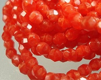 Czech Faceted Bright Persimmon Coral Firepolish Glass Beads 4mm (50) 1-04-97