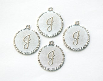 Matte Silver Plated Letter J Initial Charm Drop with Loop (4) chr196J