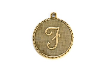 Brass Ox Letter F Initial Charm Drop with Loop (1) chr195F