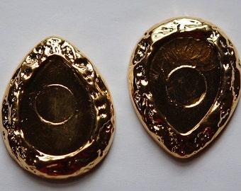 Vintage Gold Plated Acrylic Teardrop Setting 25x18mm stp017