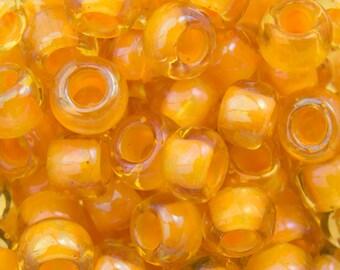 "Inside Color Jonquil / Burnt Orange Lined Toho Seed Bead 6/0 2.5"" Tube TR-06-950/C"