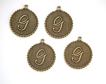 Brass Ox Letter G Initial Charm Drop with Loop (4) chr194G