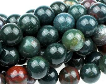 """Dakota Stones Bloodstone 10mm Round Gemstones. 8"""" Strand. BLD10RD-8"""