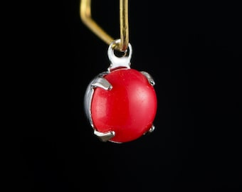Vintage Red Glass Stone 1 Loop Silver Plated Setting Drops rnd003A