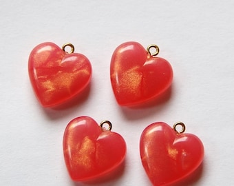 Vintage Small Peach Rose Pearl Acrylic Heart Charms Pendants chr175D