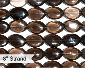 "Dakota Stones Smoky Quartz 13x18mm Oval Gemstones 8"" Strand SQZ13x18OV-8"