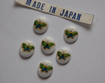 Vintage Green Butterfly Glass Cabochons Japan 10mmx 8mm (6) cab421L
