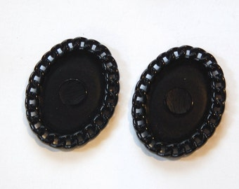 Vintage Black Plastic Oval Settings Chain Link Border 25x18mm stp006B