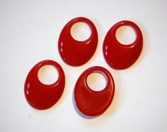 Vintage Red Acrylic Hoop Pendants Drops hps040