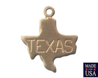 Raw Brass Tiny Texas State Charm Drops (6) chr201A