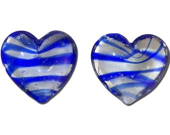 Transparent Dark Blue Striped Glass Hearts  25x22mm (2) gyb012L