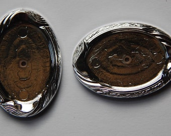 Vintage German Silver Plated Acrylic Setting 25x18mm stp005A
