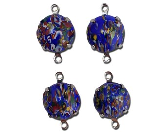 Vintage Blue Millefiori Glass Stones 2 Loop Silver Settings 12mm (4) rnd005D2