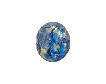 Sea Blue Foil Opal Glass Cabochons 12x10mm (2) cab5003R