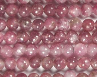 "Dakota Stones Pink Lepidolite 4mm Round Gemstones. 8"" Strand. PLP4RD-8"