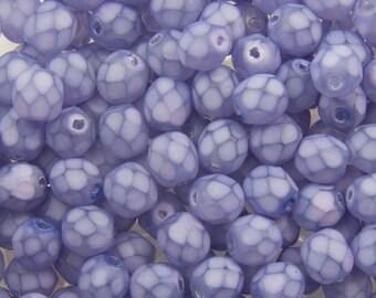 Czech Faceted Matte Purple Coated Glass Beads 6mm (30) czh013D