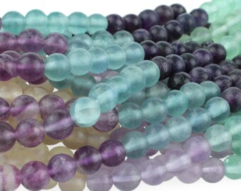 "Dakota Stones Matte Banded Fluorite 6mm Round Gemstones. 8"" Strand. FLU6RD-M-8"