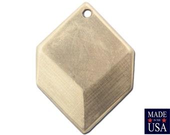 1 Hole Raw Brass Geometric Square Charms Drops (6) mtl076A