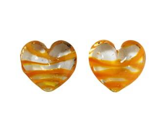 Transparent Orange Striped Glass Hearts  25x22mm (2) gyb012C