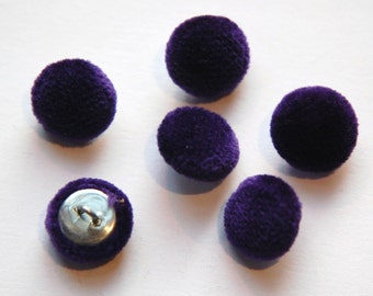 Vintage Purple Soft Velour Fabric Buttons 13mm Metal Shank btn004G