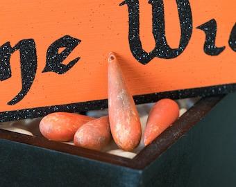 Faux Matte Orange Stone Large Vintage Acrylic Teardrop Beads (4) bds092L