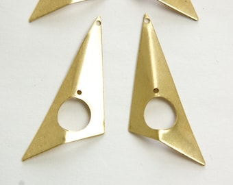 2 Hole Raw Brass Pinched Left and Right Angled Triangle Pendant Findings (4) mtl382A