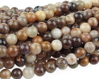 "Dakota Stones Wood Opalite 4mm Round Gemstones 8"" Strand WOP4RD-8"