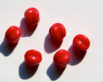 Vintage Opaque Red Glass Melon German Beads 9mm (6) grm013B