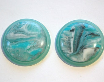 Vintage Aqua Silver and White Swirl 30mm Cabochons cab669D