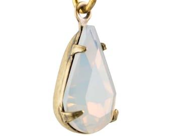 White Opal Faceted Teardrop Stone in 1 Loop Brass Ox Setting par016AX