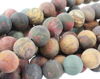 "Dakota Stones Matte Red Creek Jasper 10mm Round Gemstones. 8"" Strand. RCJ10RD-M-8"