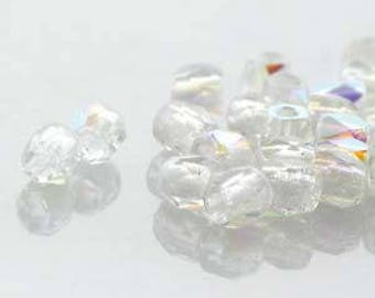 True 2 Czech Crystal AB Faceted Fire Polished Glass Beads 2mm (200+/-)