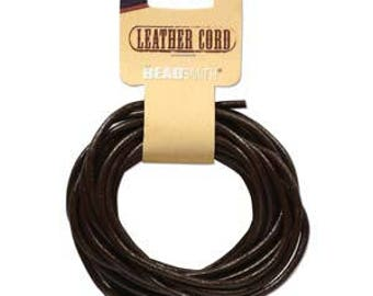 Beadsmith Dark Brown Leather Cord 3mm/5yds