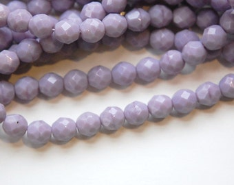 Czech Opaque Purple Faceted Glass Beads 8mm (25) czh001