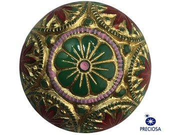 Preciosa Green Mosaic Glass Cabochons with Gold Red 18mm (2) cab756H