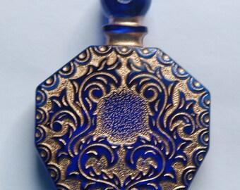 Vintage Blue Etched Faux Perfume Lucite Bottle Pendant Gold Details pnd068A