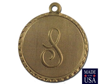 Raw Brass Letter S Initial Charm Drop with Loop (1) chr190S