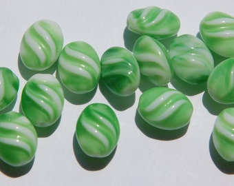 Vintage German Green and White Glass Beads (8) grm001A