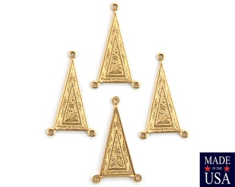 3 Loop Raw Brass Etched Triangle Connector Link 27x15mm (4) mtl044A