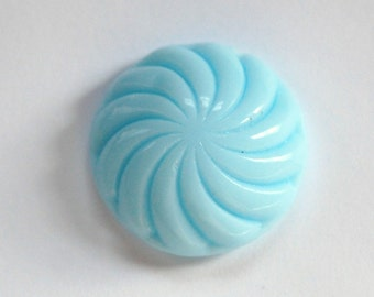 Vintage Light Blue Glass Swirled Domed Cabochon cab220