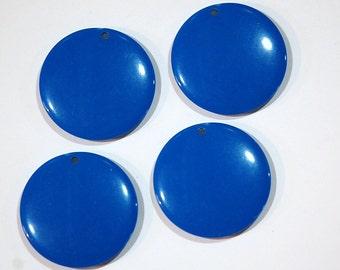Vintage Acrylic Blue Circle Disc Charm Pendant chr179C