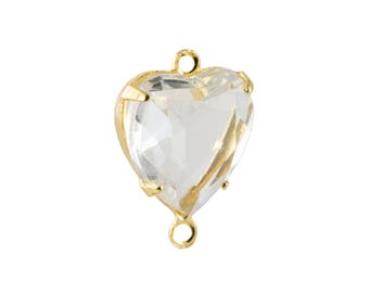 Vintage Faceted Crystal Glass Heart Pendants 2 Loop Gold Setting 12mm (4) hrt012A2