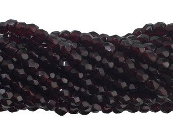 Transparent Faceted Garnet Glass Beads 4mm (50) bds1499N