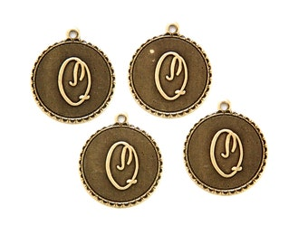 Brass Ox Letter Q Initial Charm Drop with Loop (4) chr194Q