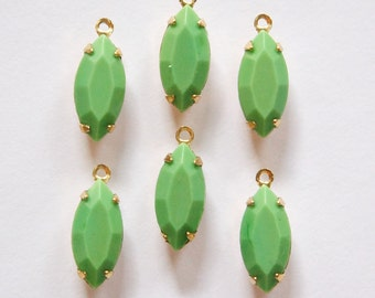 Vintage Opaque Faceted Green Glass Navettes in 1 Loop Brass Setting nav001Y