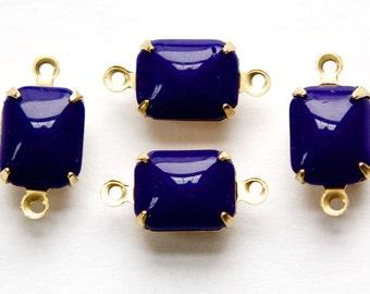 Vintage Opaque Navy Blue Stones 2 Loop Brass Setting 10mm x 8mm squ003Y2