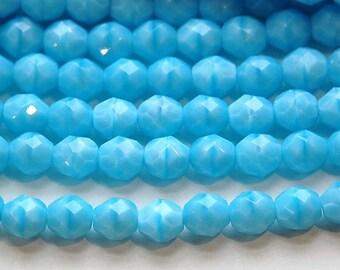 Czech Opaque Aqua Blue Faceted Glass Beads 8mm (25) czh001C