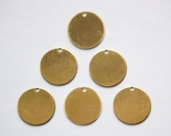 1 Hole Raw Brass Flat Circle Charms Drops (8) mtl202F